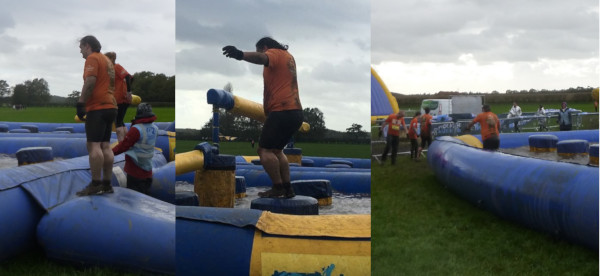 Triptych of me starting, me tackling and me extracting myself from the penultimate obstacle