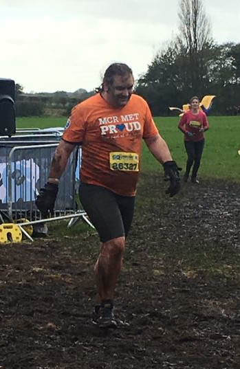 Me approaching the penultimate obstacle, very muddy